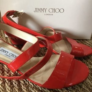 Red Patent Leather Jimmy Choo Heeled Sandals